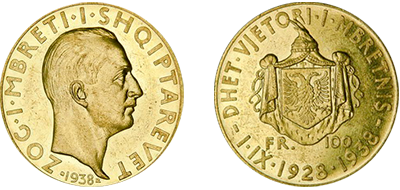 "Commemorative 100 Gold Francs ""Xth Anniversary of the Kingdom"" 1.IX.1928-1938"