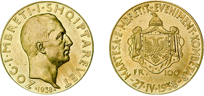 "Commemorative 100 Gold Francs ""The King's Wedding, a National Event 27.IV.1938"""