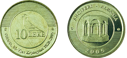 "Commemorative 10 Leke ""Tirana Capital, 85th Anniversary, 1920-2005"""