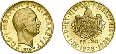 "Commemorative 20 Gold Francs ""Xth Anniversary of the Kingdom"" 1.IX.1928-1938"