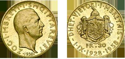 """20 Franga Ar përkujtimore """"Dhet vjetori i Mbretnis"""" 1.IX.1928-1938"""