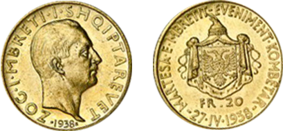 "Commemorative 20 Gold Francs ""The King's Wedding, a National Event 27.IV.1938"""