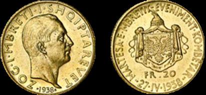 """20 Franga Ar përkujtimore """"Martesa e Mbretit Eveniment Kombëtar 27.IV.1938"""""""
