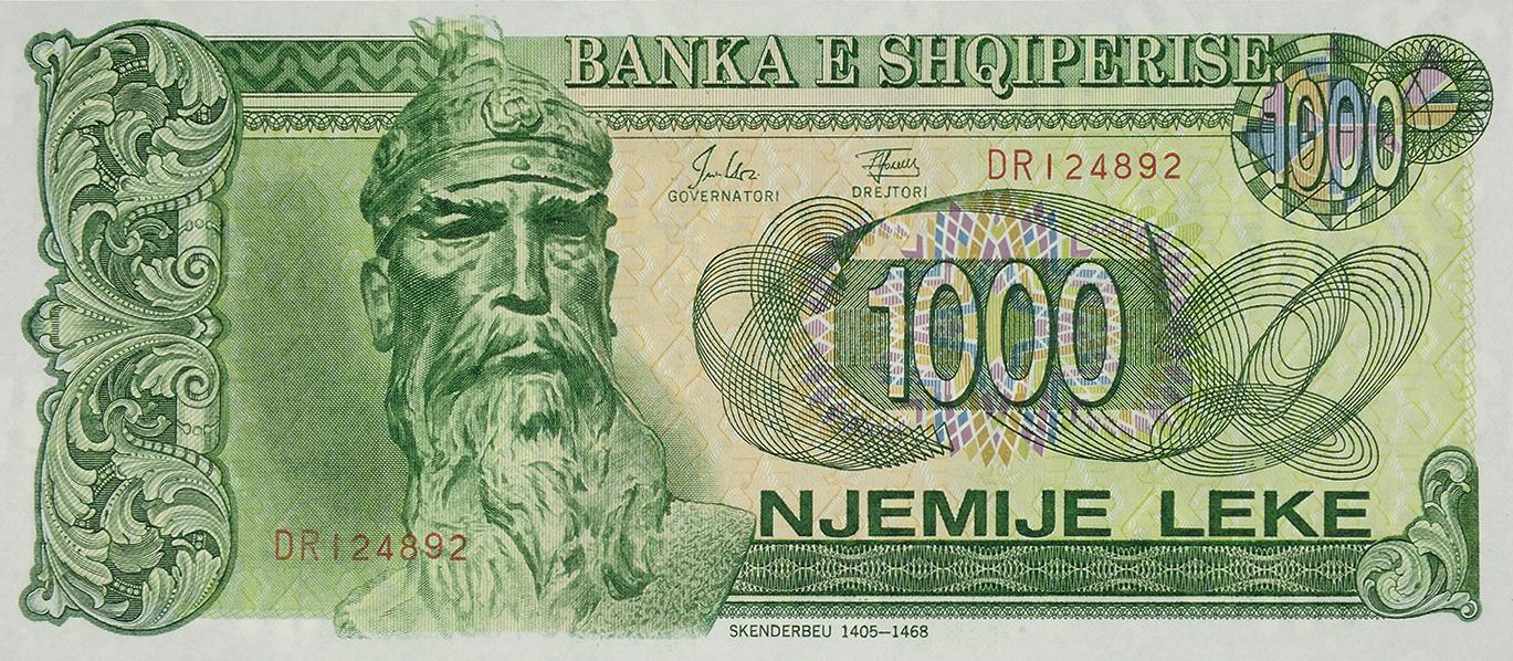 1000 LEKE, issued in 1992, 1994, 1995, 1996.
