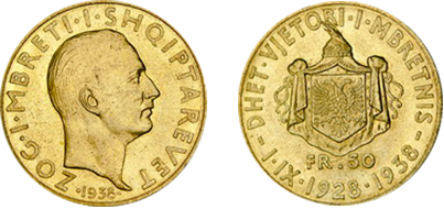 "Commemorative 50 Gold Francs ""Xth Anniversary of the Kingdom"" 1.IX.1928-1938"