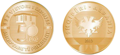 "Commemorative 50 Leke ""135th Anniversary of the League of Prizren"""