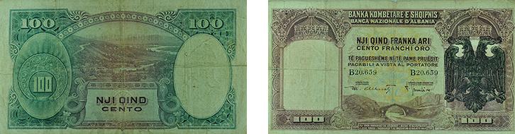 100 Franga Ari (Viti 1926 me vulë)